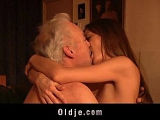 Gorgeous girl fuck and swallow old man cum