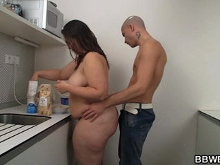 Fat chick fucks when cooking