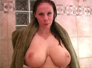 Becky huge boobs in the shower with sticy dildo