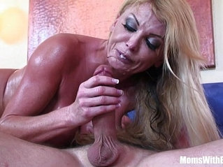 Blonde housewife Taylor Wane with gigantic boobs sexy lingerie seduces the st