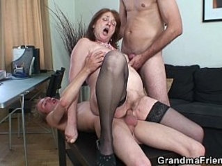 Threesome office with granny