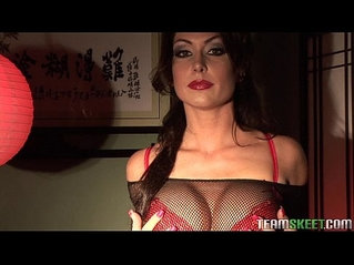 busty and pierced Jessica Jaymes strips down and masturbates