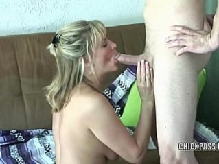 Mature blonde Becca Blossoms gets pussy nailed with stiff white cock
