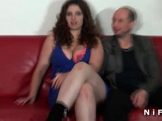 Chubby french amateur busty brunette hard deep anal fucked in front of her cuckhold husband