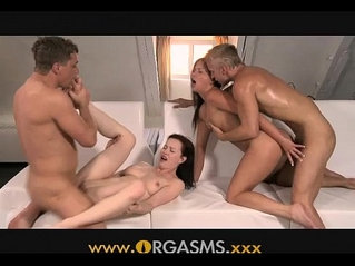 Orgasms couples get sweaty in foursome