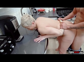 Nosey stepmom with short hair fucked in the kitchen