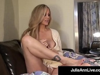Sensual milf julia ann paints her toenails and shows off her sexy feet