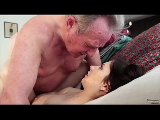 Old man Warming up my young pussy and cums in my mouth swallow it