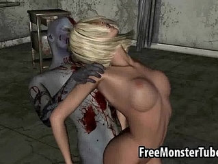 Hot 3D blonde honey getting fucked hard by a zombieombie high