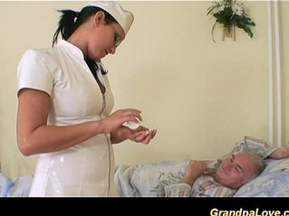 Grandpa babe sucking and fucking the nurse