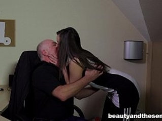 Teen gets face fucked and facialied in the office
