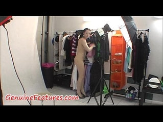 Gorgeous brunette teen with hot body in backstage