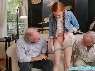 Tiny redhead and fucks with pensioner