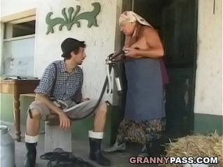 Busty Grandma Gets pussy With her Young Cock