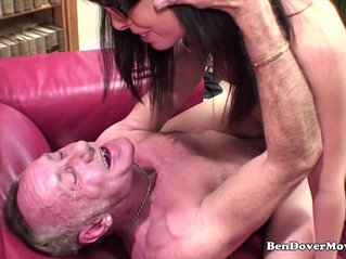 Old and young guys rough with petite