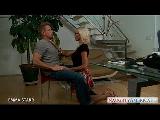 Blonde euro babe in glasses emma starr gives titjob