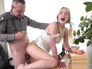 Tricky old teacher cute blonde works hard to get education