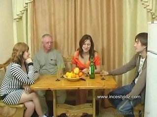 FamilySex Usual family dinner turns into a party