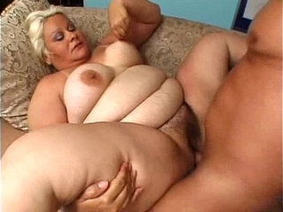 Mature old and fat blonde with the man at them home