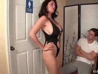Angry step mom jerking the young man