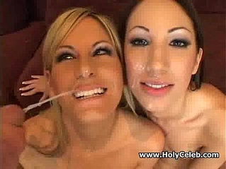 Sexy babes collecting sperm